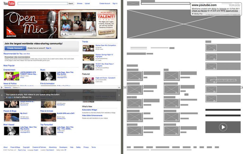 Primer finalnog izgleda stranica i wireframe-a